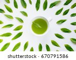 healthy light green tea cup... | Shutterstock . vector #670791586
