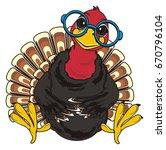 turkey in blue round glasses  | Shutterstock . vector #670796104