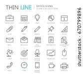 collection of office thin line... | Shutterstock .eps vector #670799896