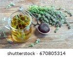 healthy herbal tea with bunch... | Shutterstock . vector #670805314