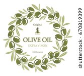label for olive oil wreath of... | Shutterstock .eps vector #670819399