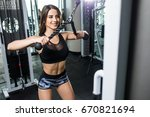 beautiful muscular fit woman... | Shutterstock . vector #670821694