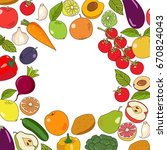 fruits and vegetables   vector... | Shutterstock .eps vector #670824043
