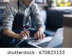 portrait of senior sommelier... | Shutterstock . vector #670825153