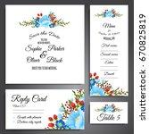 set of flower wedding ornament... | Shutterstock .eps vector #670825819