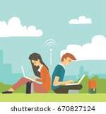 young business couple sitting... | Shutterstock .eps vector #670827124