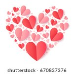 heart shape filled with folded... | Shutterstock . vector #670827376