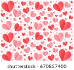 pink and red folded paper... | Shutterstock . vector #670827400
