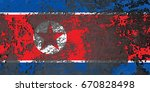 north korea flag grunge... | Shutterstock . vector #670828498