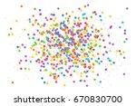 olorful round confetti splash... | Shutterstock . vector #670830700