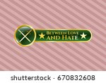 gold badge or emblem with... | Shutterstock .eps vector #670832608
