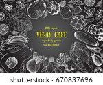 healthy food frame vector... | Shutterstock .eps vector #670837696