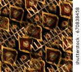 seamless pattern with tribal... | Shutterstock . vector #670838458