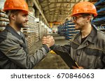shot of two cheerful male... | Shutterstock . vector #670846063