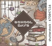 school days color template with ... | Shutterstock .eps vector #670847116