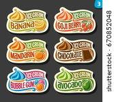 vector set of fruit ice cream... | Shutterstock .eps vector #670852048