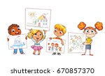 cute kids show their drawings... | Shutterstock .eps vector #670857370