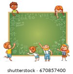 different children draw doodle... | Shutterstock .eps vector #670857400