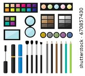vector set of make up cosmetics ... | Shutterstock .eps vector #670857430