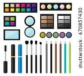 vector set of make up cosmetics ...   Shutterstock .eps vector #670857430