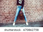 woman street photo portrait ... | Shutterstock . vector #670862758
