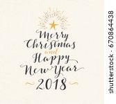 handmade style greeting card  ... | Shutterstock .eps vector #670864438