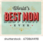 vintage style postcard   world... | Shutterstock .eps vector #670864498