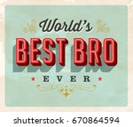 vintage style postcard   world... | Shutterstock .eps vector #670864594