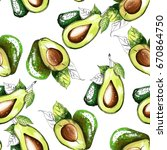 seamless pattern with avocado. | Shutterstock .eps vector #670864750