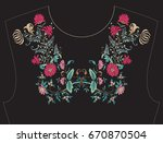 embroidery for neckline  collar ...   Shutterstock .eps vector #670870504