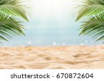 sunny tropical beach background | Shutterstock . vector #670872604