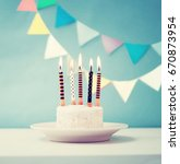 birthday white cake with... | Shutterstock . vector #670873954