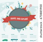 travel composition with famous... | Shutterstock .eps vector #670885900