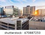 downtown of regina at sunset.... | Shutterstock . vector #670887253