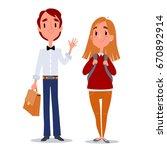 back to school. teenagers boy... | Shutterstock .eps vector #670892914