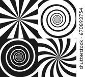 set of psychedelic spiral with... | Shutterstock .eps vector #670893754