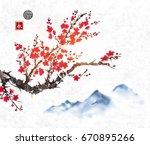 cherry sakura tree branch in... | Shutterstock .eps vector #670895266