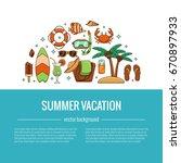 summer vacation beach icon... | Shutterstock .eps vector #670897933