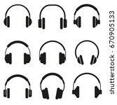 headphones set of icon vector... | Shutterstock .eps vector #670905133