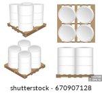 set. iron barrels on wooden... | Shutterstock .eps vector #670907128