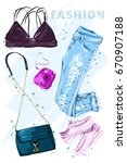 summer fashion set. fashion... | Shutterstock .eps vector #670907188