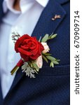 boutonniere of red roses and... | Shutterstock . vector #670909714