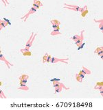 girls sunbathing on the beach.... | Shutterstock .eps vector #670918498