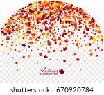 autumn banner with scattered... | Shutterstock .eps vector #670920784