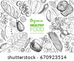 healthy food frame vector... | Shutterstock .eps vector #670923514