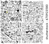 hand drawn food elements. set... | Shutterstock .eps vector #670923580