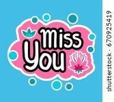 miss you sticker social media... | Shutterstock .eps vector #670925419