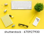 office hipster workplace with... | Shutterstock . vector #670927930