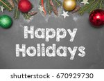 christmas decoration  with text ... | Shutterstock . vector #670929730