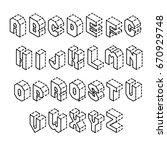 isometric letters | Shutterstock .eps vector #670929748